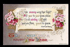 1910 Winsch gold emb. Primrose Flowers Adams Quote New Year greetings postcard