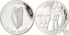 manueduc   IRLANDA  10 EUROS 2006  SAMUEL BECKET  PLATA  PROOF ESTUCHE