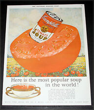 1927 OLD MAGAZINE PRINT AD, CAMPBELL'S TOMATO SOUP, MOST POPULAR IN THE WORLD!