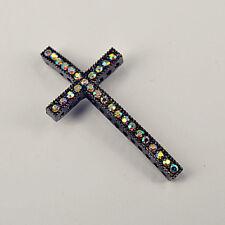 5pc Pewter Plated Elegant Sideway Cross Ab Rainbow Crystal Jewelry Connector