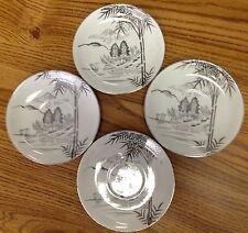 Meiyo China Porcelain Set of 4 Saucers Silver Metallic Scene