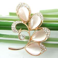 Opal Flower Leaves Tree Branch Twig 18K Yellow GP Crystal Brooch Pin B7857
