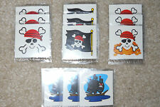 Lot of 12 Pirate temporary children's tattoos birthday party favor goody bags