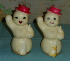 vintage Gurley Christmas Snowman Candle Lot x2 large snowmen candles