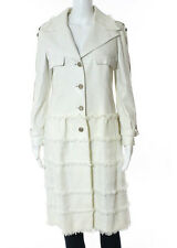 Chanel Ivory Leather Cotton Gold Tone Fringe Long Sleeve Jacket Size 10 New