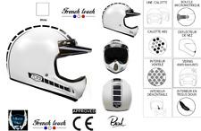 Casque moto cross vintage classic Torx Brad Legend Racer BLANC  XS/S/M/L/XL