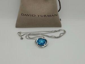 David Yurman 925 Silver Infinity Pendant 14mm Blue Topaz Necklace 17 in chain