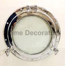 """17"""" Porthole Window Glass Silver Finish ~ Auminum Porthole ~ Nautical Decor"""
