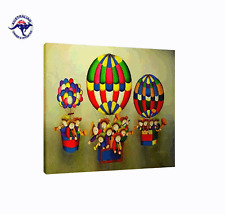 ROYBAL REPRO OIL PAINTING OF KIDS ON HOT AIR BALLOONS WITH FLAT NUT BROWN FRAME