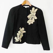 Anne Crimmins Blazer 100% Silk Black Floral Patching Trim Slim Cut Size 4