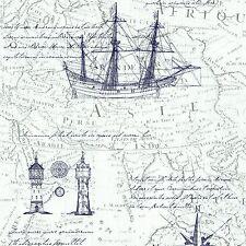 Vliestapete Segelboot Kompass cremeweiß blau grau Tapeten P+S Times 42110-40 (2,