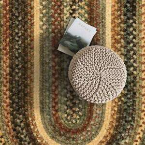 Capel Rugs Eaton Wool Soft Chenille Braided Casual Country Oval Rug New Leaf 200