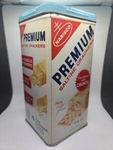 NABISCO Vintage Premium Saltine Crackers 1969 Tin Metal Canister 14 oz USA