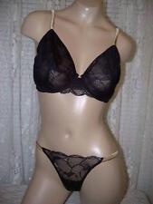 La Perla Lace Fantasy Iris 36C M Full Cup Bra Thong Panty Set Black Bronze