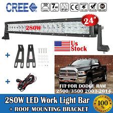 5D+ 24inch 280W LED Light Bar + Mount Brackets Fit For Dodge Ram 2500/3500 03-14