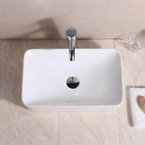 UK Modern Bathroom Counter Top Ceramic White Basin Cloakroom Gloss Wash Sink