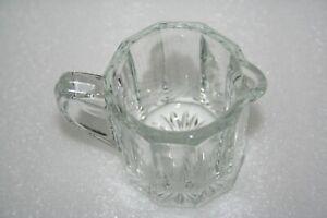 "Vintage Clear Pressed Glass Creamer Syrup Pitcher Paneled Side Star Base 3"" 4 oz"