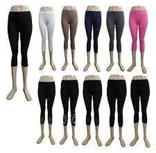 Damen Leggins 3/4 Capri Hose Leggings Legins Baumwolle  34 36 38