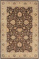 6X9 Hand-Knotted Oushak Carpet Traditional Brown Fine Wool Area Rug D49361