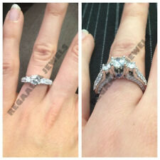 2 Ct Round Brilliant Cut Diamond 14k White Gold Over Three-Stone Wedding Ring