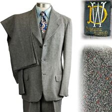 Vintage 1940s Flecked International Tailoring 4 Piece Suit 2 Pants 40 41 34x32