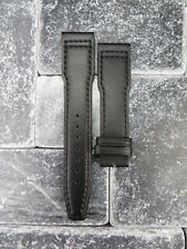 20mm TOP GUN Black Soft Calf LEATHER STRAP Watch Band Black Stitch IWC PILOT 20