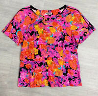 Whistles Floral Peplum Top Size 14 Bright Kawaii Short Sleeve Career Fashion
