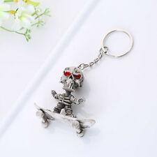 Skateboard Skull Rubber Keychain Skeleton Funny Chain Bag Car Key Holder Keyring