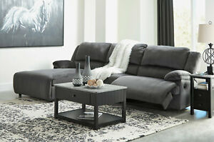Modern Sectional Living Room Couch Set - Gray Fabric Reclining Sofa Chaise IF2D