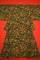 Vintage Japanese Silk Antique BORO KIMONO Kusakizome KOMON Dyed /YJ59/935
