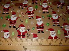 1 Yard Ho! Ho! Santa on Tan Christmas Fabric