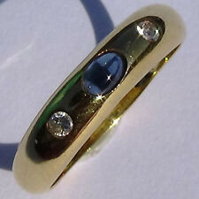 Natural Cabochon Sapphire Diamond Ring 18k solid yellow gold US Size 9