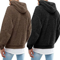 Men's Winter Loose Hoodies Sweatshirt Plush Jacket Hoodie Tops Outerwear