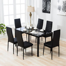 7 Piece Dining Set Glass Top Table And 6 Leather Chair Kitchen Room Furniture