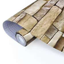 10m Vinyl 3D Brick Stone Self Adhesive Contact Paper Roll Home Decor Wallpaper