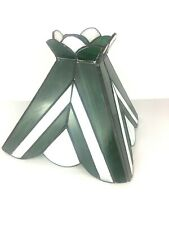 Tiffany Style Stained Glass Green & White Lamp Shade EUC