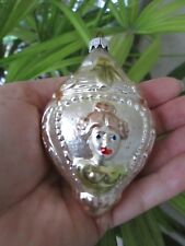 Vintage 2 Sided Rose Lady West Germany Mercury Glass Christmas Ornament Silver