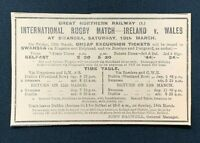 1926 Newspaper Clipping RUGBY MATCH, IRELAND v WALES, GNR RAIL TRAVEL TO SWANSEA