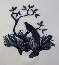 "Embroidered Quilt Block Panel ""Bird Of Paradise"" Pure Irish Linen Fabric"