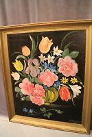 Tableau huile sur toile nature morte aux fleurs signée Bondoux Paillot