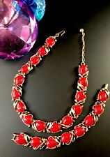 RARE 1955 CROWN TRIFARI RUBY RED LUCITE CABOCHON 'CARAVAN' NECKLACE BRACELET SET