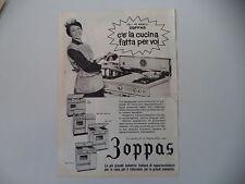 advertising Pubblicità 1961 ZOPPAS CUCINA MOD. G 290/G4F/ML4/G4/200