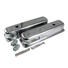 SBC 350 Chevy 5.7L Ball Milled Polished Aluminum Centerbolt Tall Valve Covers