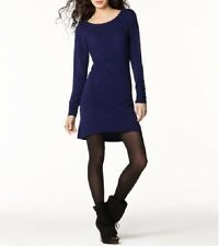 BCBG BCBGeneration Dress Sz S Solid Deep Blue Long Sleeve Jersey Cocktail Dress