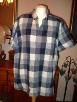 "F&F ORIGINAL Indigo Yarn Blue Check S/sleeve Shirt Size XL 44-46"" ~Button Collar"
