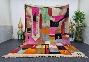 "Moroccan Boujaad Handmade Rug 6'8""x9'4"" Berber Abstract Pink Orange Wool Carpet"