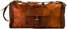 Mens Vintage Duffel Bag Leather Duffle Travel Men Gym Luggage Genuine Overnight