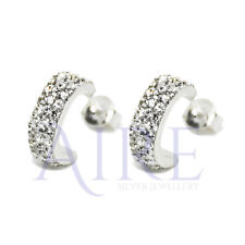925 Sterling Silver Half Hoop Stud Earrings with Sparkling CZ Micro Pave