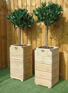 Doorway Entrance Tall Decking Tower - Square - Tree Display Wooden Planter Pot