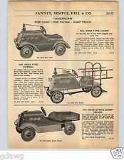 1936 PAPER AD American Pedal Car Speed Dump Truck Aero Flite Coaster Wagon ++